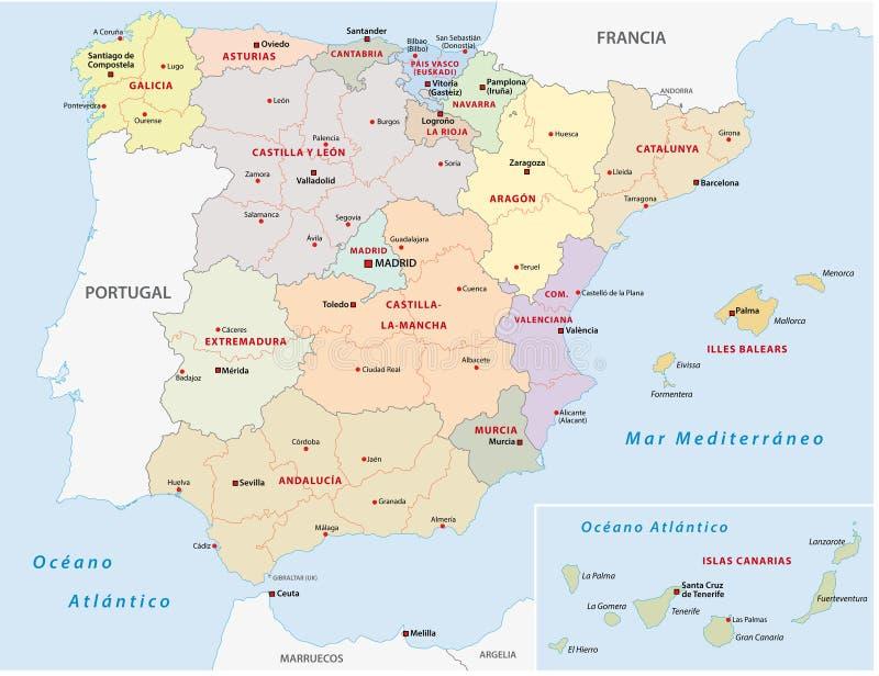 Autonome Regionen Spanien Karte.Autonome Gemeinschaften Politischer Karte Spaniens Vektor