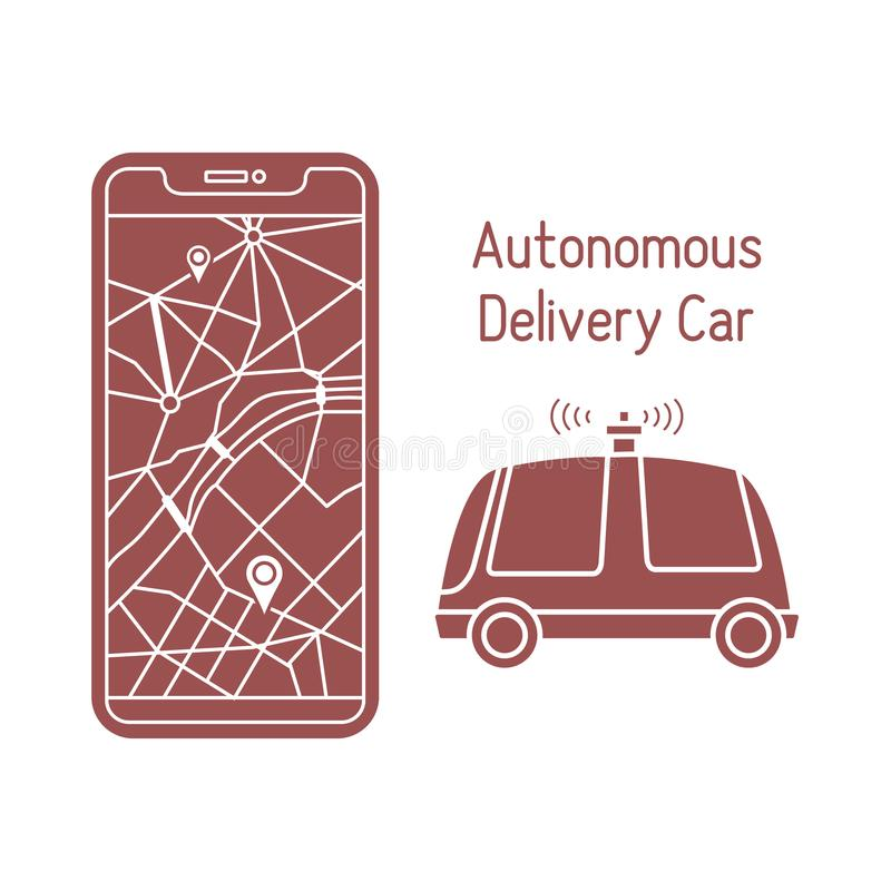 Autonome Lieferungsauto Navigationsfernbedienung vektor abbildung