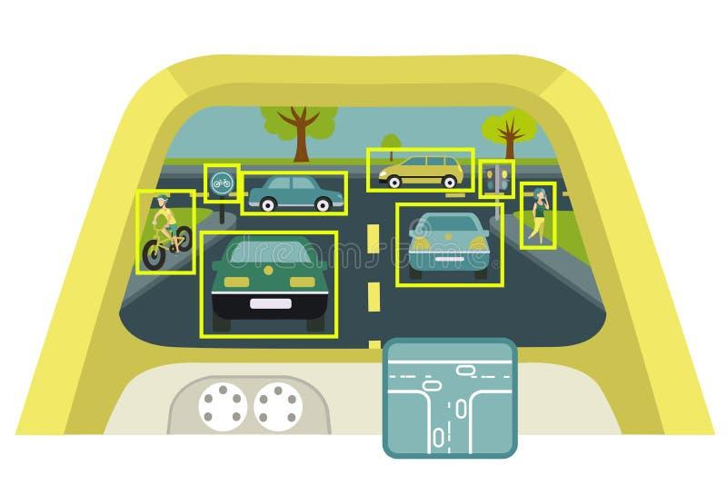 Autonome slimme auto binnenlandse affiche vector illustratie