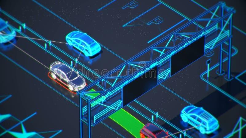 Autonome systemu transportu pojęcie, mądrze miasto, internet rzeczy, pojazd pojazd, pojazd infrastruktura ilustracja wektor
