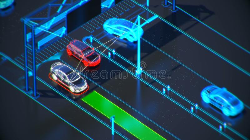 Autonome transportation system concept, smart city, Internet of things, vehicle to vehicle, vehicle to infrastructure. Smart transportation technology concept stock illustration