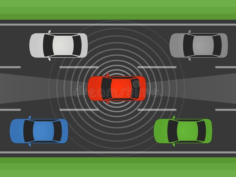 Autonome zelf drijfauto, voertuig of auto met lidar en radar vlakke illustratie vector illustratie