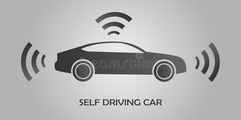 Autonome zelf-drijft Automobiele het voertuig Vectorillustratie van Driverless van de sensoren Slimme Auto royalty-vrije illustratie