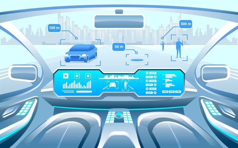 Autonomer intelligenter Autoinnenraum Autoselbst, der auf der Autobahn in die Stadt fährt Anzeige zeigt Informationen über das Fa lizenzfreie abbildung