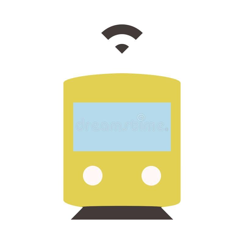 Autonomer Zug oder U-Bahn - Ebene färbte Ikone - Gelb vektor abbildung