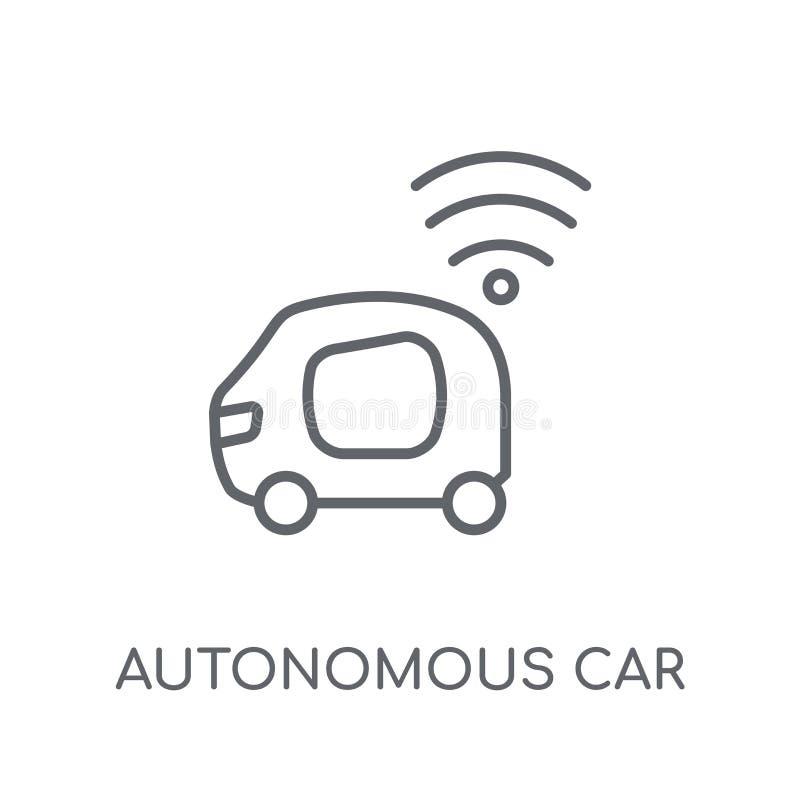 Autonomiczna samochodowa liniowa ikona Nowożytnego konturu Autonomiczny samochodowy logo c ilustracja wektor