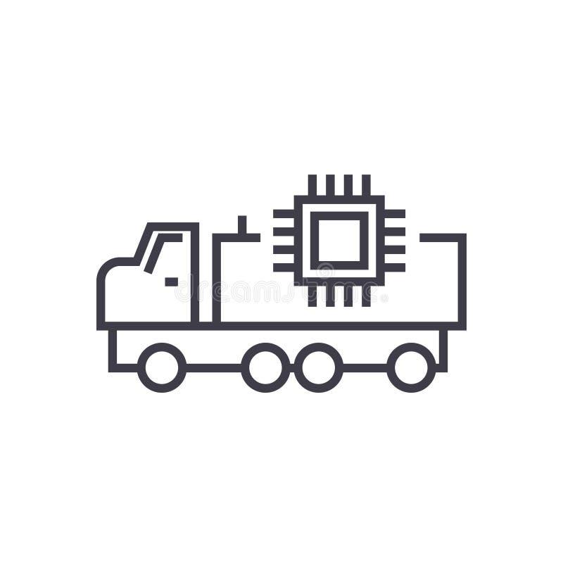 Autonomiczna samochodowa liniowa ikona, znak, symbol, wektor na odosobnionym tle royalty ilustracja