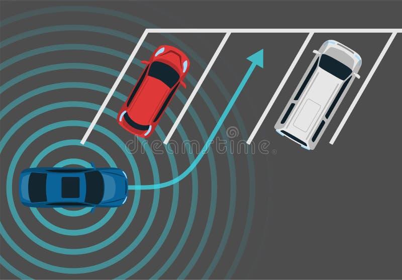 Autonomicznego samochodowego parking odgórny widok ilustracji