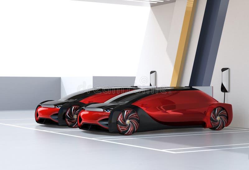 Autonomiczni elektryczni samochody ładuje w ładuje stacji ilustracji