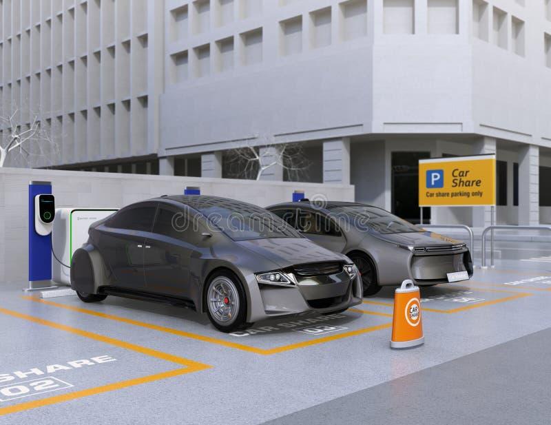 Autonomiczni pojazdy w parking dla dzielić ilustracja wektor