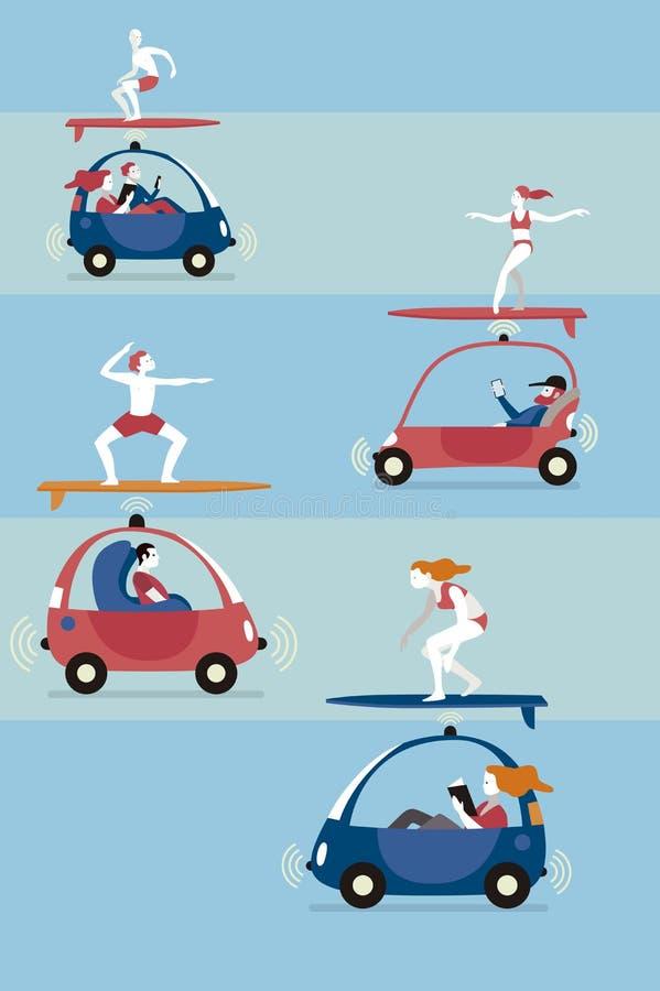 Autonomiczni samochody i surfingowowie royalty ilustracja