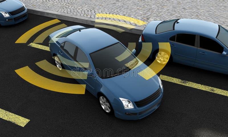 Autonomiczni samochody na drodze z widocznym związkiem royalty ilustracja