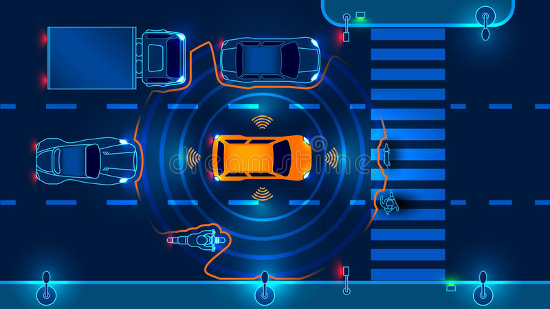 Autonomiczny mądrze samochód ilustracja wektor