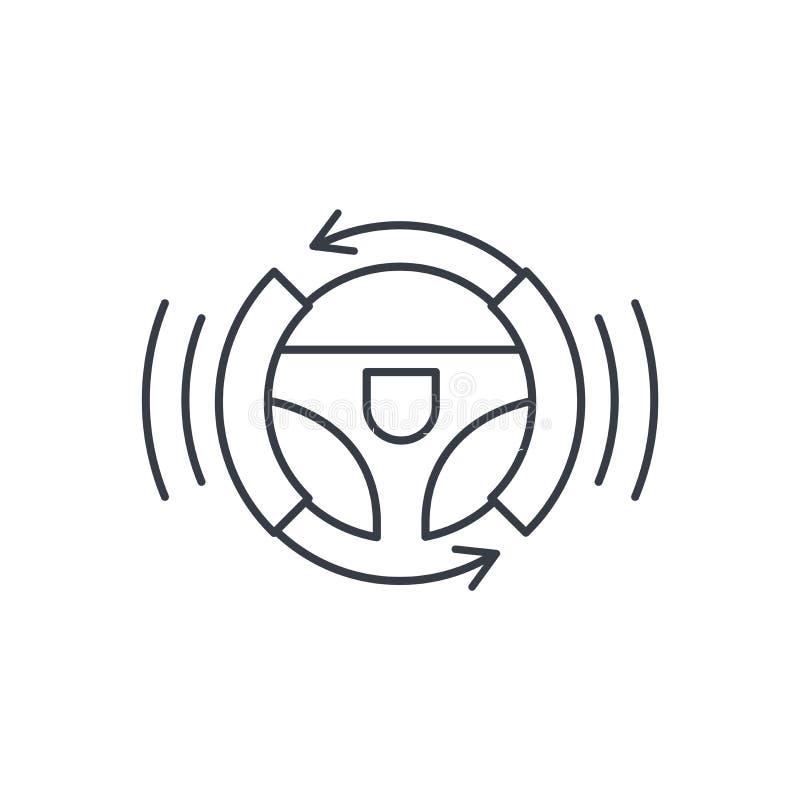 Autonomiczny samochód, autopilot, Gyropilot, automatyczny pilot, mądrze samochodowej kierownicy cienka kreskowa ikona Liniowy wek royalty ilustracja
