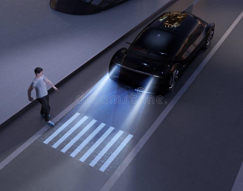 Autonomiczny samochodowy komunikować z pieszy przy crosswalk znakiem ilustracja wektor