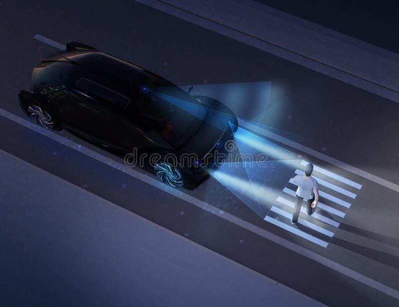 Autonomiczny samochodowy komunikować z pieszy przy crosswalk znakiem ilustracji
