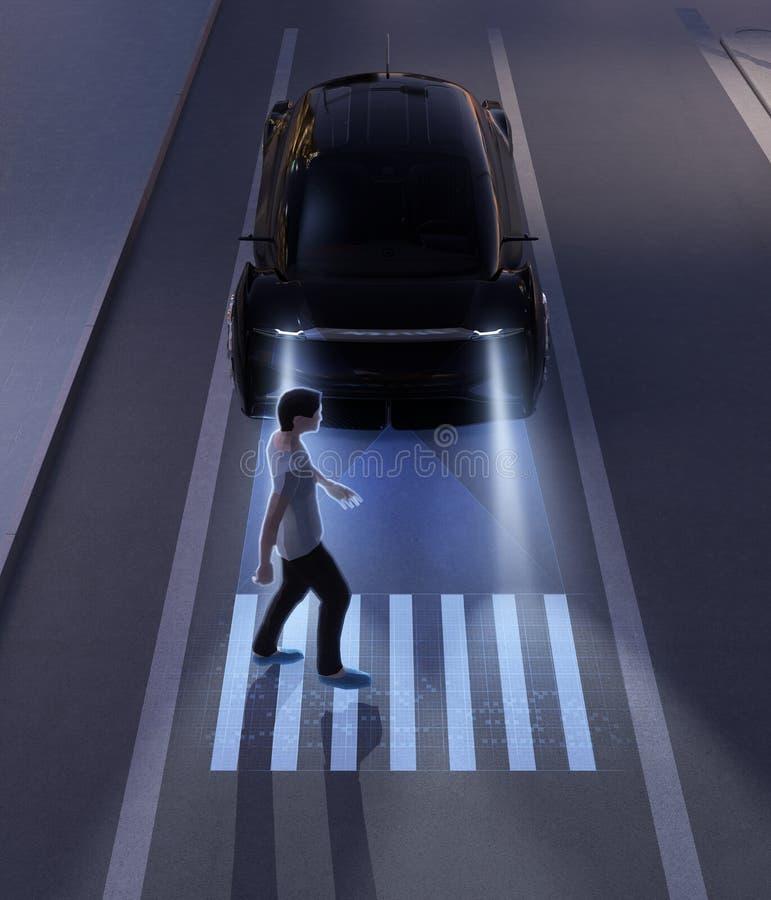 Autonomiczny samochodowy komunikować z pieszy przy crosswalk znakiem royalty ilustracja