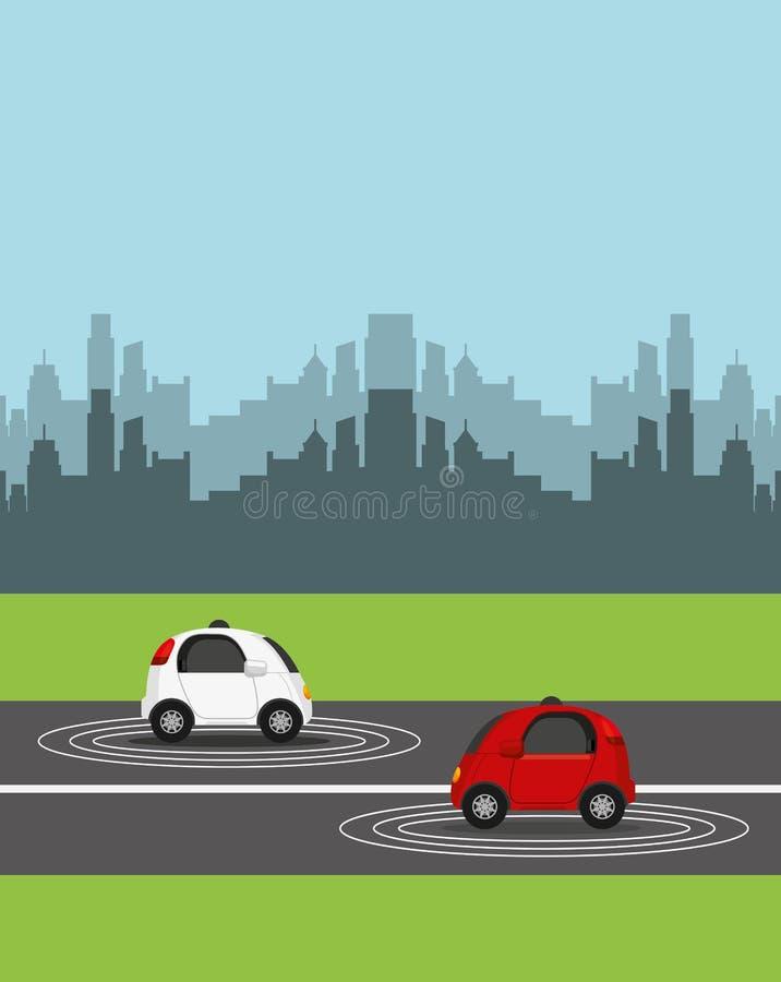 Autonomiczny samochodowy projekt ilustracja wektor