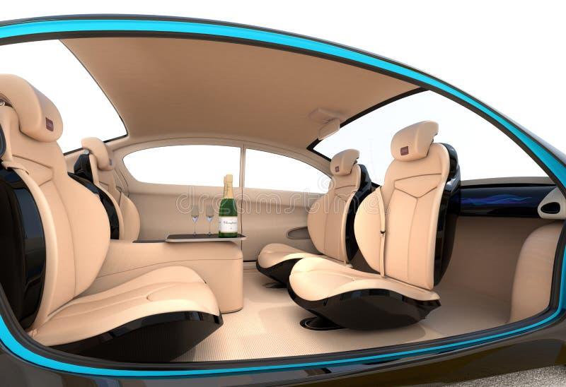 Autonomiczny samochodowy wewnętrzny pojęcie ilustracji