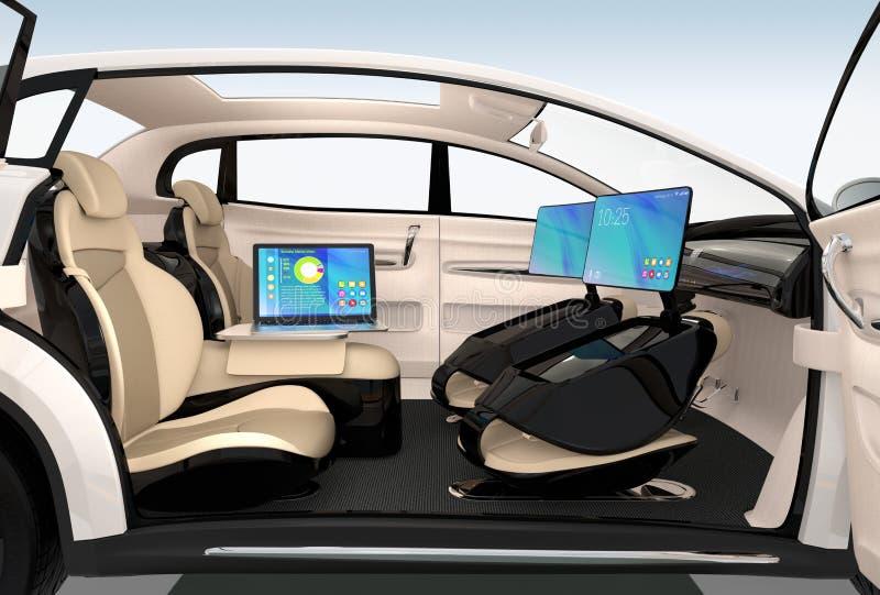 Autonomiczny samochodowy wewnętrzny projekt Pojęcie dla nowego biznesowego praca stylu gdy poruszający na drodze ilustracja wektor
