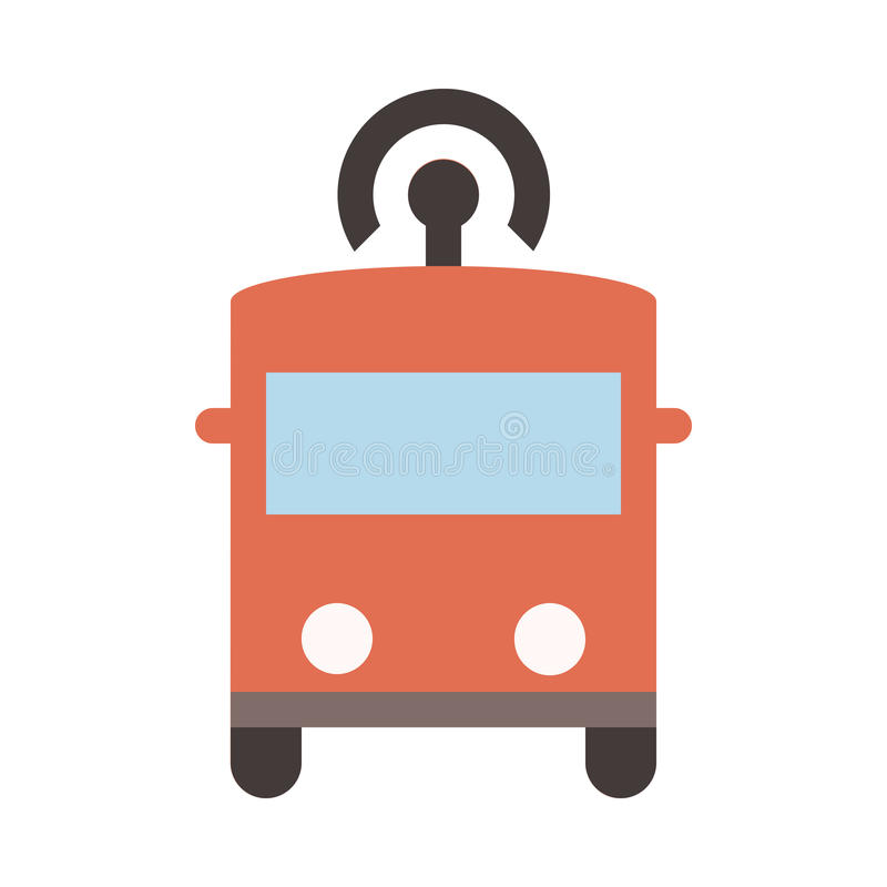 Autonomous Bus - Flat colored icon - Red royalty free illustration