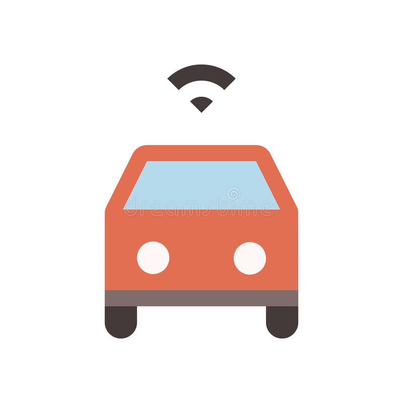Autonomous car - Flat colored icon - Red. Autonomous car - Flat, colored, and pixel perfect icon - Red stock illustration