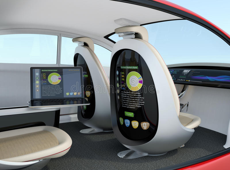 Autonomous car interior concept. Screen of the seat and laptop showing same document in sync mode vector illustration