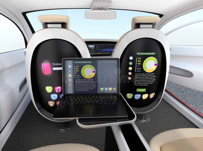 Autonomous car interior concept. Screen of the seat and laptop showing same document in sync mode. Concept for new business work style in future. 3D rendering stock illustration