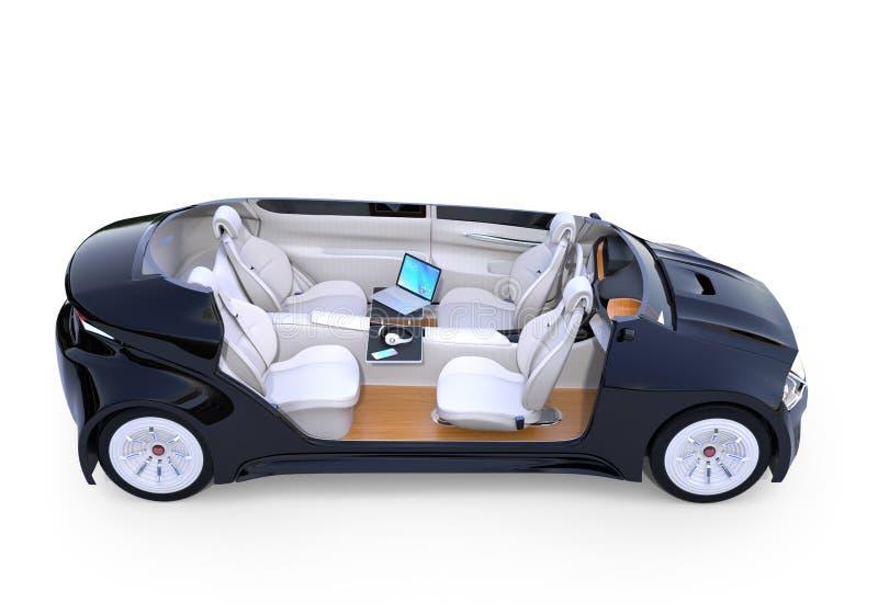 Autonomous car interior vector illustration