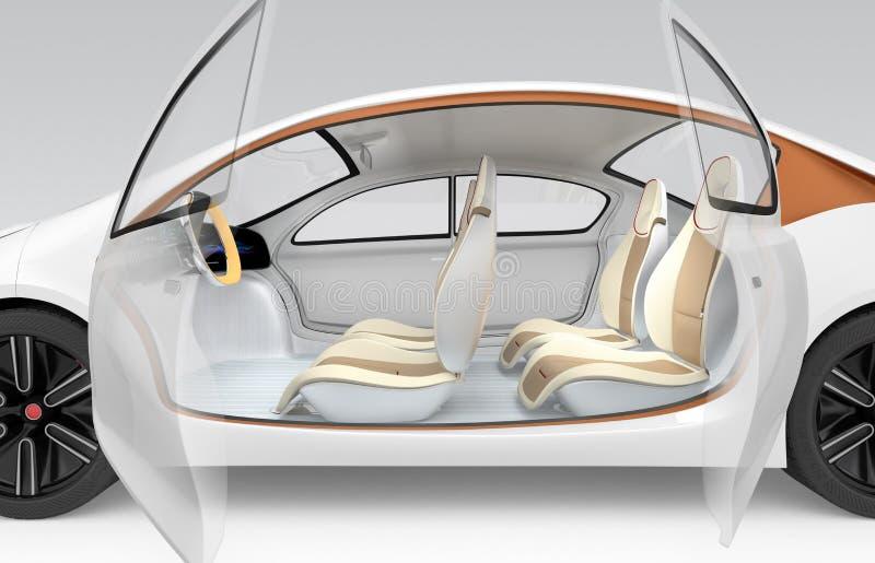 Autonomous car's interior concept. The car offer folding steering wheel, rotatable passenger seat. Side view of autonomous electric car. The car offer folding stock illustration