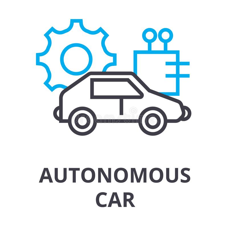 Autonomous car thin line icon, sign, symbol, illustation, linear concept, vector vector illustration