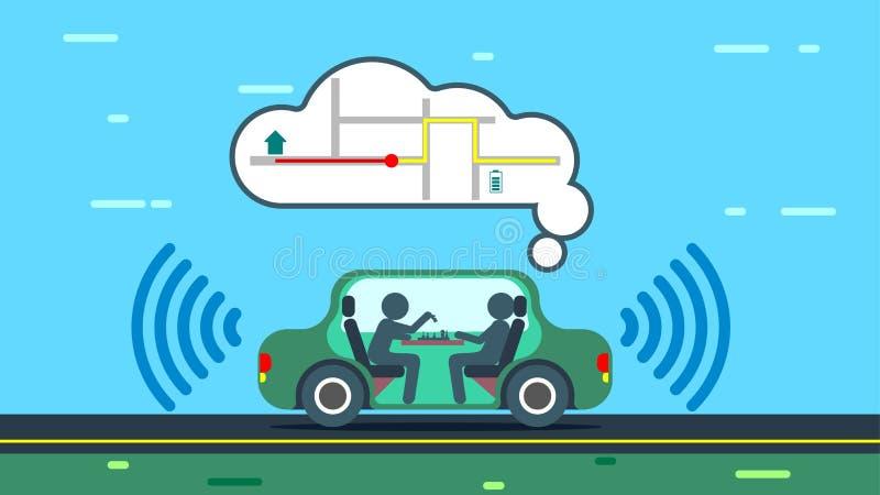 The autonomous car uses gps maps. The autonomous car travels along the city road, automatically paves the route of the trip. The autonomous car uses gps maps vector illustration