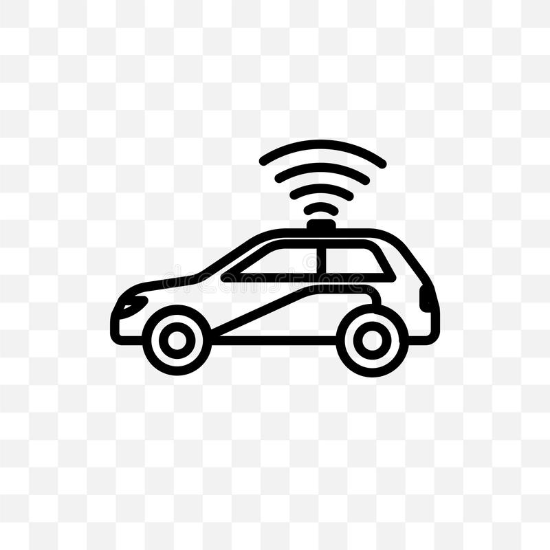 Autonomous car vector linear icon isolated on transparent background, Autonomous car transparency concept can be used for web and. Mobile vector illustration