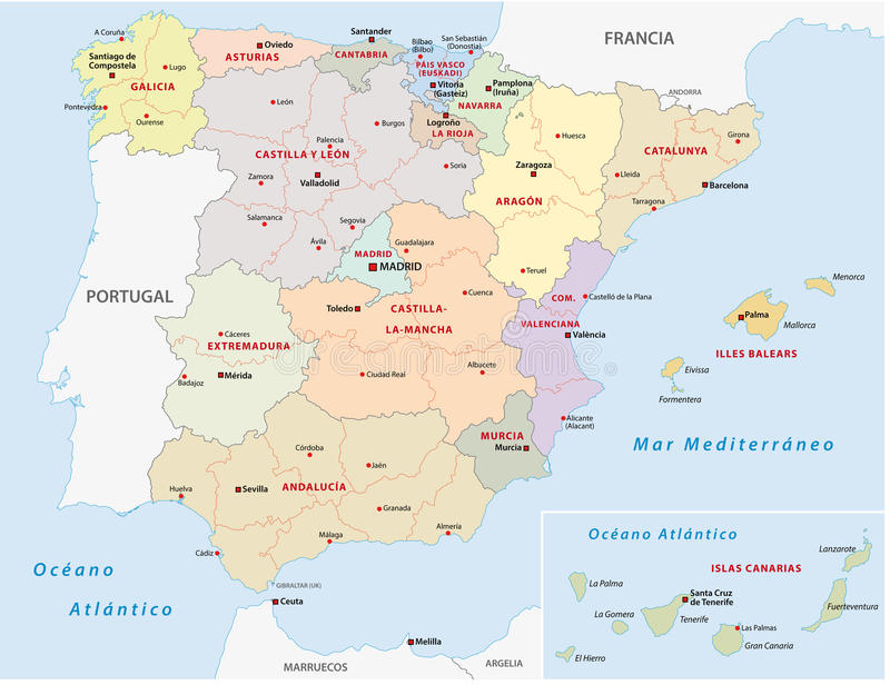 Autonomous Communities Of Spain Stock Vector Image 47463840