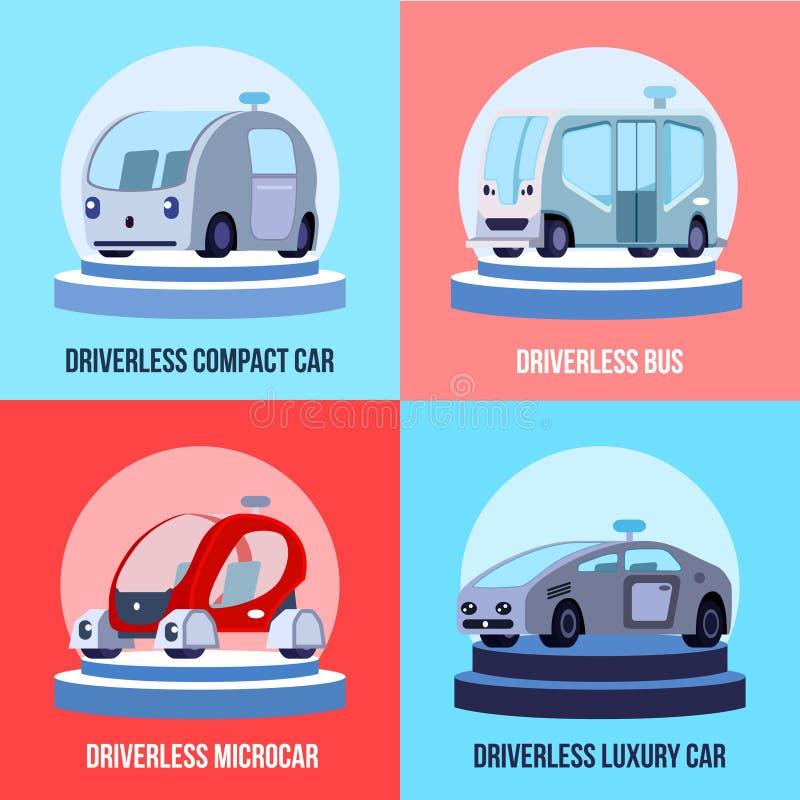 Autonomous Driverless Vehicles Concept stock illustration