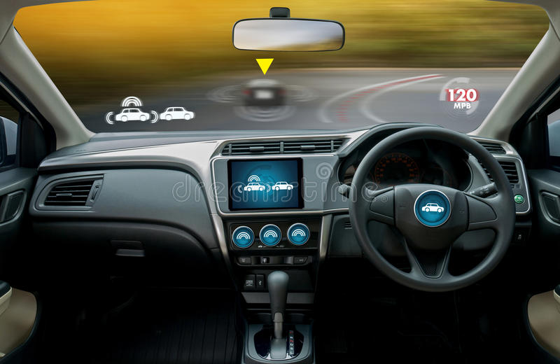 autonomous driving car and digital speedometer technology image stock photos