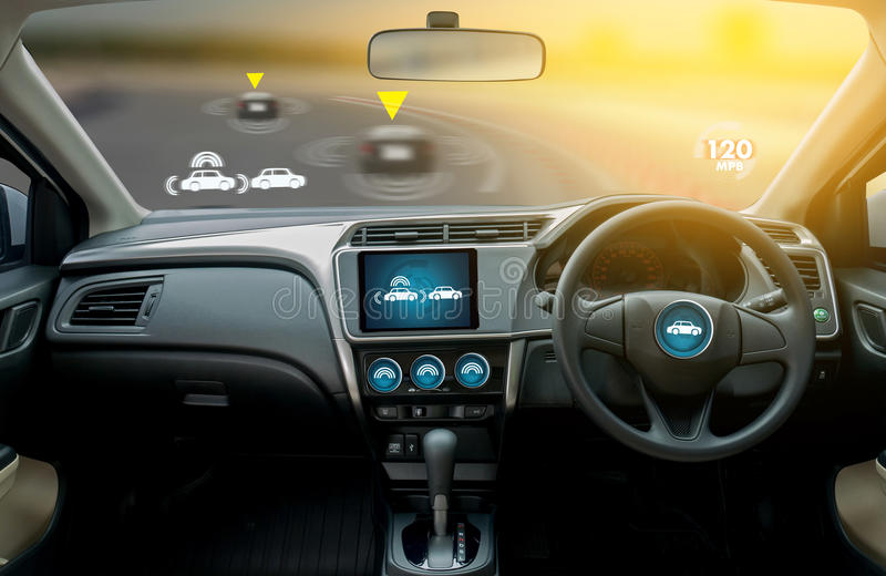 autonomous driving car and digital speedometer technology image royalty free stock photos
