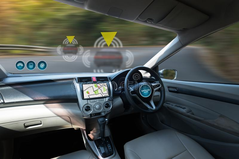autonomous driving car and digital speedometer technology image royalty free stock images