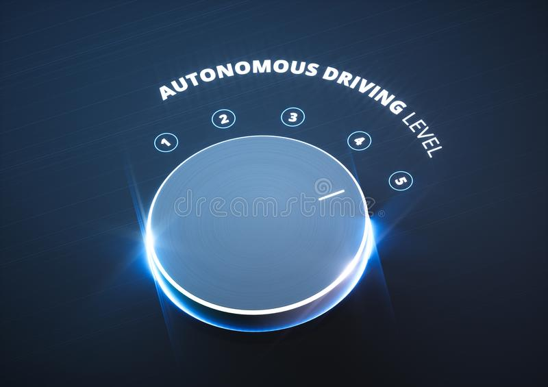 Autonomous driving level concept. 3d rendering. royalty free illustration
