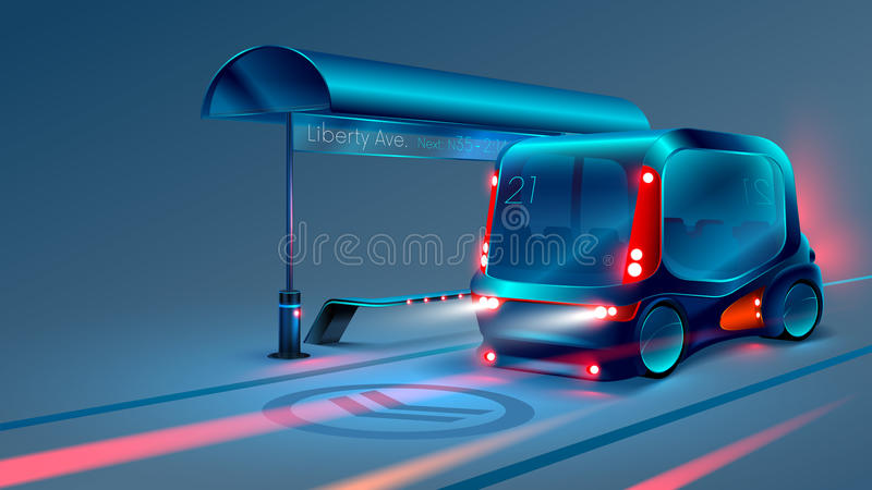 Autonomous electric smart bus or minibus stops at city bus stop. VECTOR. Autonomous electric smart bus or minibus stops at city bus stop. City vehicle. Night vector illustration