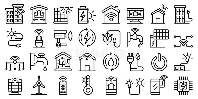 Autonomous house icons set, outline style stock image