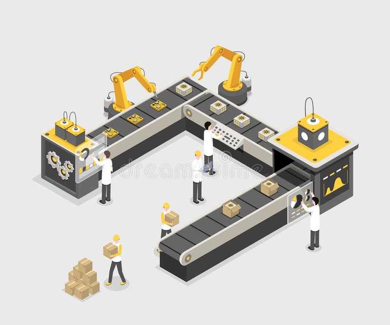Autonomous, programmed production line with workers. Modern factory, industry manufacturing process, technology vector. Automated, programmed assembly line with stock illustration