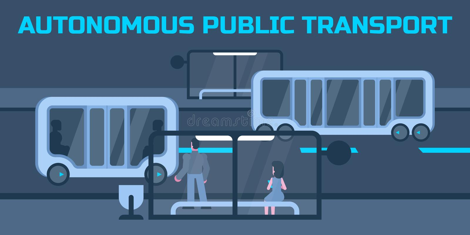 Autonomous public transport royalty free illustration