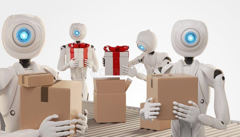 Autonomous robot packs presents in boxes 3d-illustration royalty free illustration