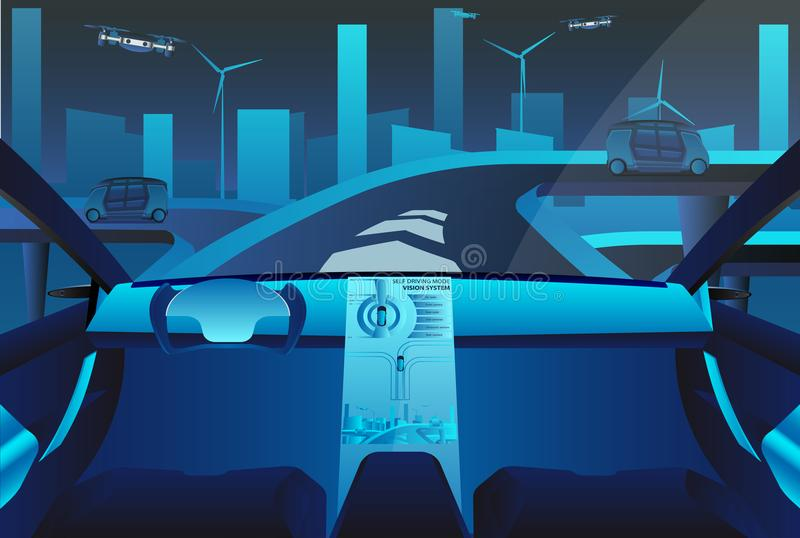 Autonomous self driving car on the road. vector illustration