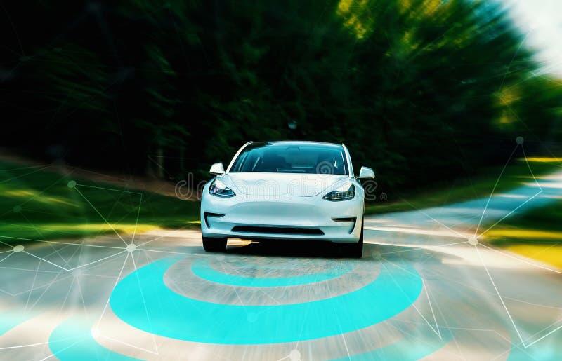 Autonomous self driving car technology concept royalty free stock photography