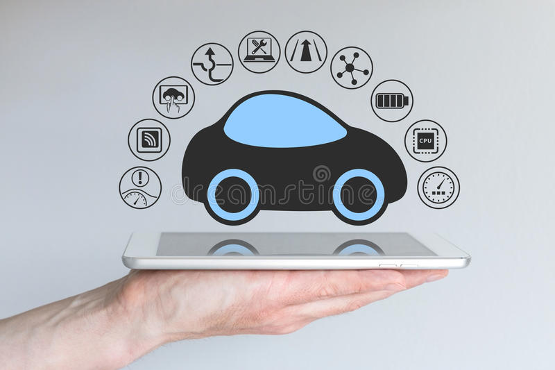 Autonomous self-driving driverless car connected to mobile device royalty free illustration