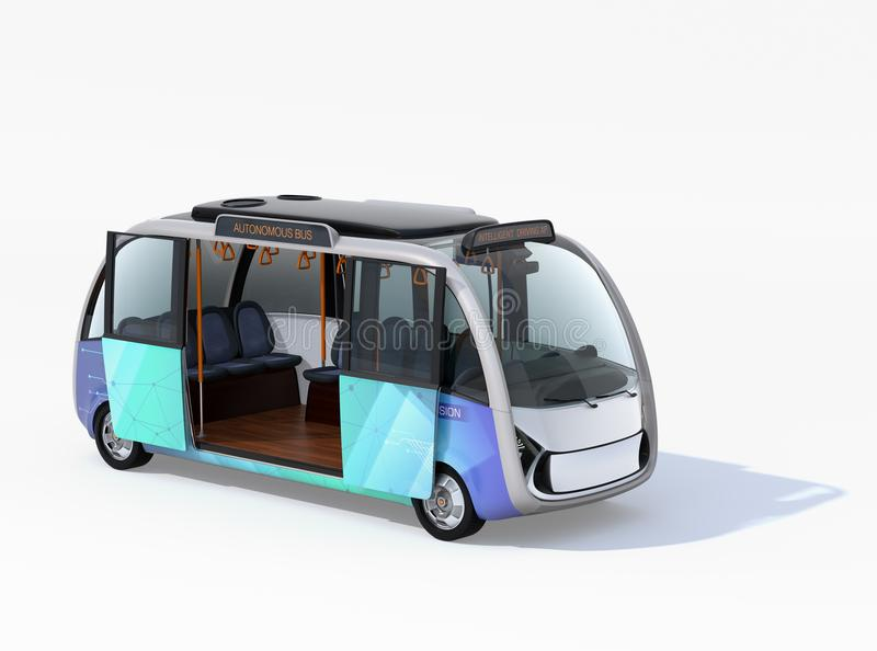 Autonomous shuttle bus with opened door isolated on white background. 3D rendering image vector illustration