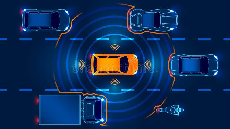 Autonomous smart car vector illustration