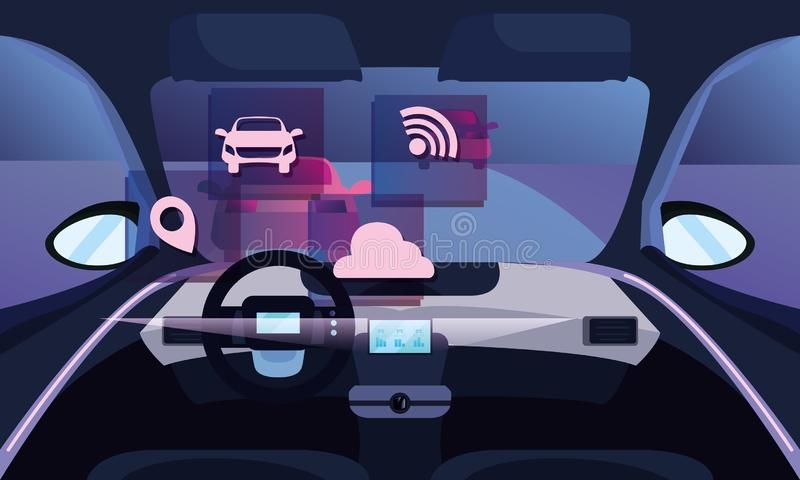 Autonomous smart car stock illustration